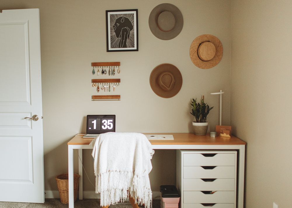 Office decor with hats. 5 steps to make your home a happier space that you love.